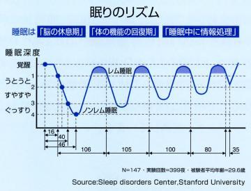 レム睡眠とノンレム睡眠のグラフ